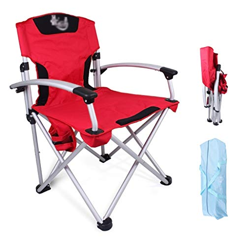 Außen Klappstuhl Angeln Barbecue Camping Stuhl Armlehne Freizeit Fischen-Stuhl tragbarer Hocker Zeichnen Director Chair (Color : Red, Size : 61 * 65 * 96cm)