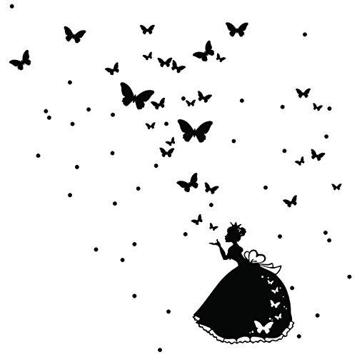 Stickers adhésifs Enfants | Sticker Autocollant Princesse des fées et papillons - Décoration murale chambre bébés | 55 x 55 cm - Noir