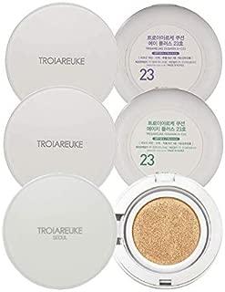 TROIAREUKE H+ 23, A+ 23, Seoul Cushion, 3 Types Set, Korean Cushion Foundation Make-up for Sensitive, Acne, Oily, Dry, Anti-Aging Skin