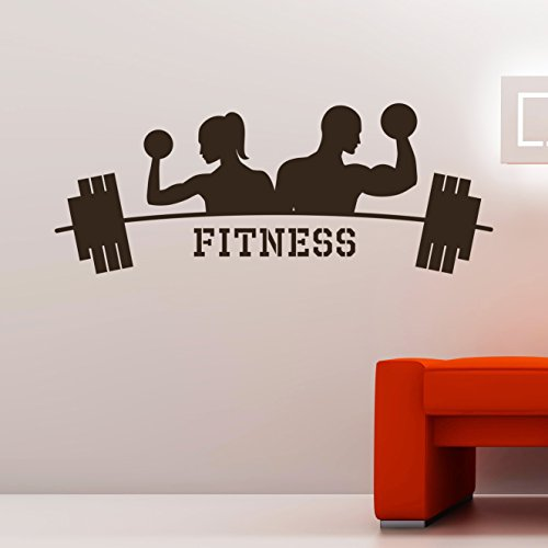 Wall Decals Fitness Sport Exercises Bodybuilder Dumbbells Decal Vinyl Art Living Room Gym Decor Sticker Murals DA3992