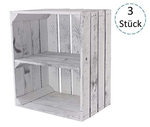 Sparset - schöne, dekorative Obstkisten/Apfelkisten 50x40x30cm von Vintage-Möbel GmbH als Möbel, zur Aufbewahrung (3er QuerVintage)