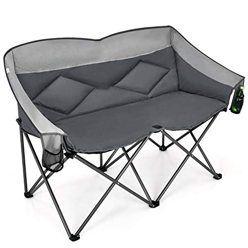 Goplus Loveseat Camping Chair, Double Folding Chair for Adults Couples w/Storage Bags & Padded High Backrest, Oversize Camp Seat for Fishing Picnic (Grey)