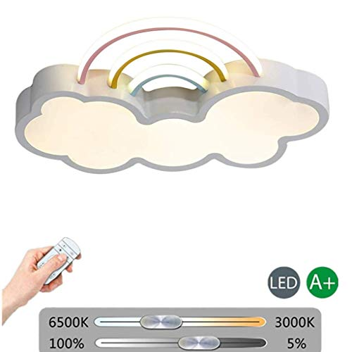 LED Ceiling lamp dimmable with Remote Control Ceiling lamp for Children's Rooms Modern Acrylic Cloud Chandelier in Rainbow Design Ceiling Lighting for bedrooms for Boys and Girls [Energy cla