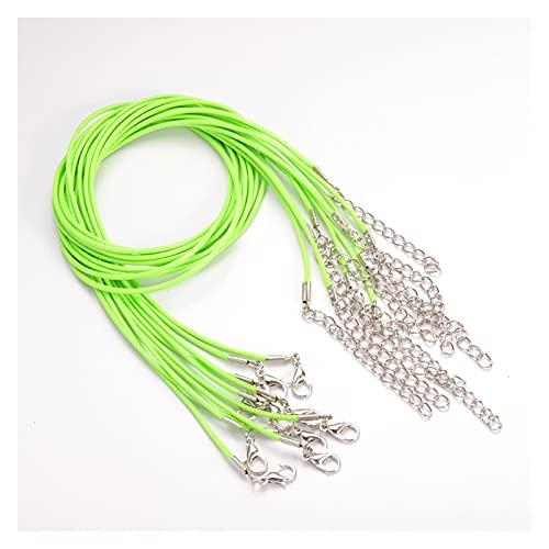 BOSAIYA PJ1 20 unids 1.5mm Cierre de Langosta Cuerda de Cadena Cuero Ajustable Ajustable Cuerda Cuerda Collares Colgantes Hermos Joyas Maquillaje DIY Tl705 (Color : 1, Size : 50cm x 1.5mm)