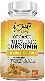 Organic Turmeric Curcumin Supplement- Tumeric with Black Pepper Capsules Vegan Natural GMP Certified Non-GMO Joint Pain Support Cardiovascular Protection for Men and Women Max Absorption 60 Tablets
