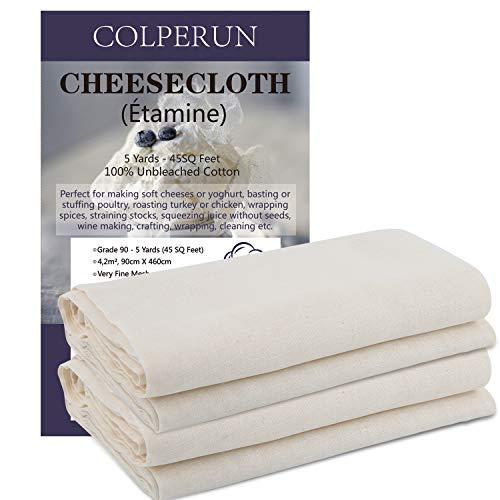 Colperun Passiertuch, Grad 90, 4,2m², 90cm X 460cm, 100% Ungebleichte Baumwolle Feinmaschiges Käsetuch zum Kochen, Käse Sieb, Butter klären, Backen, Hallowmas Dekorationen