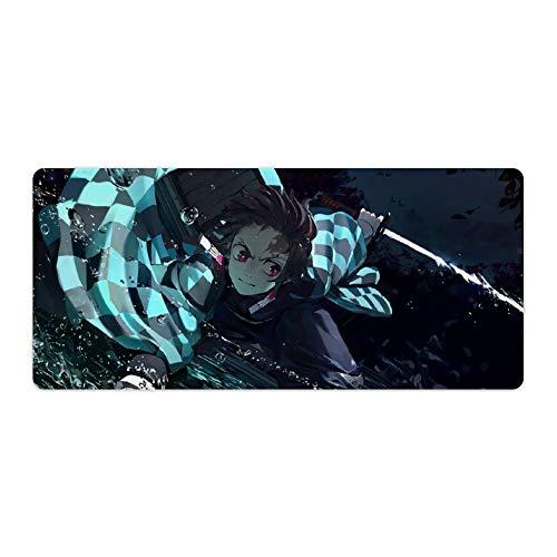 Demon Slayer Anime Kimetsu No Yaiba Zenitsu Breath of Thunder Large Gaming Mouse Pad Desk Mat Long Non-Slip Rubber 15.8x35.4