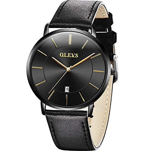 Relojes de moda para hombres Reloj de cuarzo ultra delgado resistente al agua,Relojes analógicos con fecha del día Calendario de hombres,Relojes de pulsera a prueba de agua,Reloj con correa de