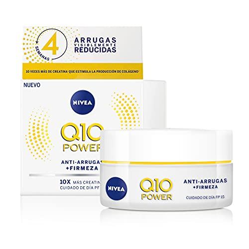 NIVEA Q10 Power Antiarrugas Cuidado de Día FP15 (1 x 50 ml), crema antiarrugas facial, crema hidratante con protector solar 15, crema de día antiedad