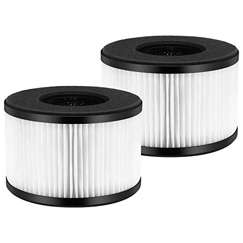 iSingo 2-Pack BS-03 True HEPA Air Filter Replacement Filters Compatible for PARTU BS-03 Air Purifier with 3-in-1 Filtration System Include Pre-Filter, True HEPA Filter, Activated Carbon Filter