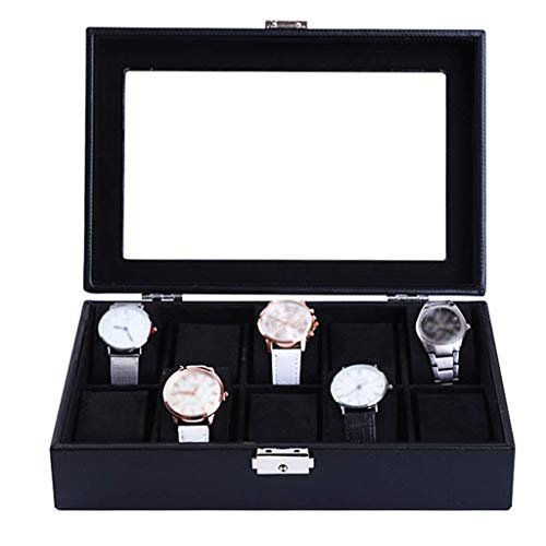 Watch Box Jewelry Collection Faux Leather Display Case Storage Showcase Organiser with Glass Lid and 10 Removal Storage Pillows