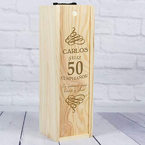 Calledelregalo Regalo para cumpleaños Personalizable: Caja para Botella de Vino Especial cumpleaños con su Nombre, Edad y la dedicatoria Que tú elijas.