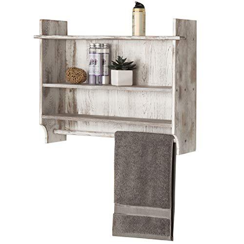 MyGift Wall-Mounted Whitewashed Wood 3-Tier Bathroom Organizer Display Shelf Rack with Hand Towel Bar
