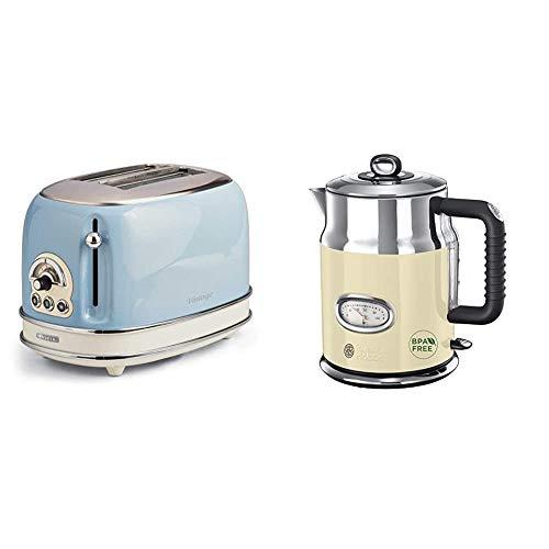 Ariete 155 Toaster mit 2 Schlitzen Vintage Céleste & Russell Hobbs Wasserkocher, Retro creme, 1,7l, 2400W, Füllmengenmarkierung, optimierte Ausgusstülle, Vintage Teekocher 21672-70