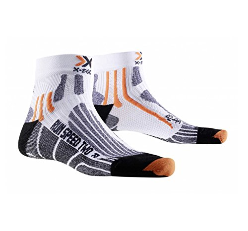 X-Bionic Run Speed Two Calcetin, Unisex Adulto, Blanco/Negro