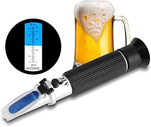 Ejoyous Zuckergehalt Refraktometer, Refraktometer Brix Wein Refraktometer zur Messung des Zuckeranteils mit ATC Handrefraktometer für Winzer Wein Bier Obst Frucht usw