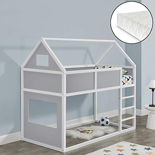 Litera para niños con Escalera y Colchón 200 x 90 cm Cama para niños de Pino Cama Infantil Forma de casa Textil de Confianza Certificado Oeko-Tex 100 Blanco y Gris