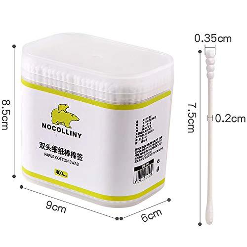 zqh Eine Schachtel mit 400 Wattestäbchen für Kleinkinder mit doppeltem Kopf und Nasenstäbchen und dünnem Wattestäbchen aus Papier. Eine Schachtel mit 400 Wattestäbchen