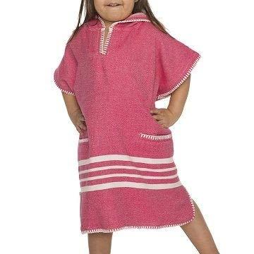 Kinder Strandponcho Hamam Fuchsia - Leeftijd 6-7 jaar - kinderponcho - badponcho - strandcape - badcape - Leeftijd 6-7 jaar - jongens/meisjes/unisex pasvorm - poncho handdoek voor kinderen met capuchon - zwemponcho - badcape