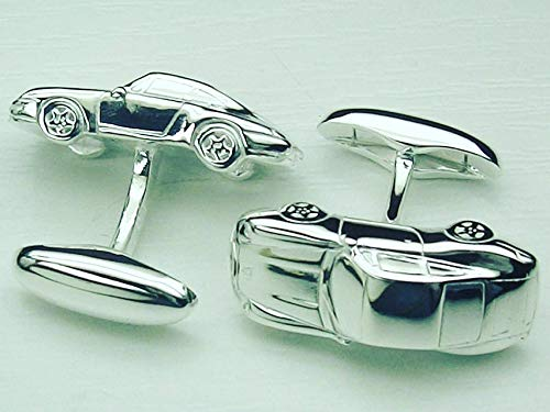 Manschettenknöpfe massiv aus 925 Silber, Handarbeit im Design eines Sportwagens, persönliche Gravur möglich