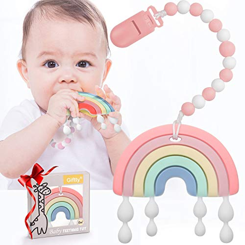 Baby Teether Teething Rainbow Toys for Babies BPAFree Infant Toy for 024 Months Baby Boys amp Girls Pink