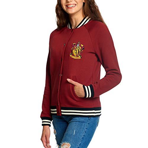 Elbenwald Harry Potter Collegejacke Hogwarts Gryffindor Hauswappen für Damen rot - L