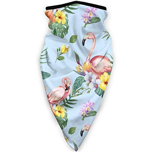Pajarita de flamenco dibujada a mano con patrn de flores tropicales Multifuncional Headwear mscara elstica, esnood, protector de cuello, bufanda, a prueba de viento y a prueba de polvo