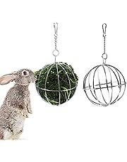 Comedero para Conejos,2 Piezas Bola comedero de Acero Inoxidable,Dispensador de Alimentos para Hámster,Bola de Heno,Bola de Hierba de Conejo,para Animales Pequeños Conejo,Hámster,Chinchilla(Plata)