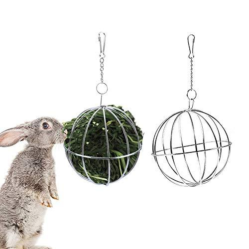 Comedero para Conejos,2 Piezas Bola comedero de Acero Inoxidable,Dispensador de Alimentos para...