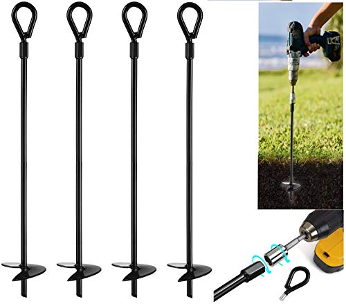 """VASGOR 20"""" Ground Anchors (4pcs) Easy to Use with Drill, 10mm Diameter, Heavy Duty Anchor Hook for Camping Tent, Canopies, Car Ports, Sheds, Swing Sets, Securing Animals – Black Powder Coated"""