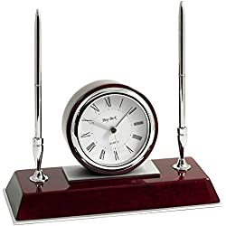 Bey-Berk CM681 Dresden, Lacquered Rosewood Quartz Desk Clock with Chrome & Stainless Steel Accents and 2 Pens, Brown