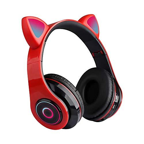 Fesjoy B39 Cute Cat Ear Headset Wireless BT5.0 - Auriculares plegables para juegos con luces RGB flash y juego de tarjetas TF/modo cable, color rojo