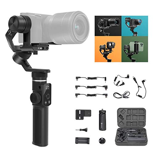 FeiyuTech Official G6 Max 3 Axis Camera Gimbal Stabilizer for Small Mirrorless/Pocket/Action Camera/Smartphone,for Canon 200D II M50 Sony ZV1 a6500 Panasonic GH4 GoPro Hero 8 7 iPhone 11 Pro Max XR XS