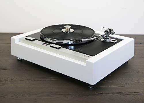 Restaurierter & Modifizierter Thorens TD 125 MKII Plattenspieler mit SME 3009 Tonarm in weiß - schwarz