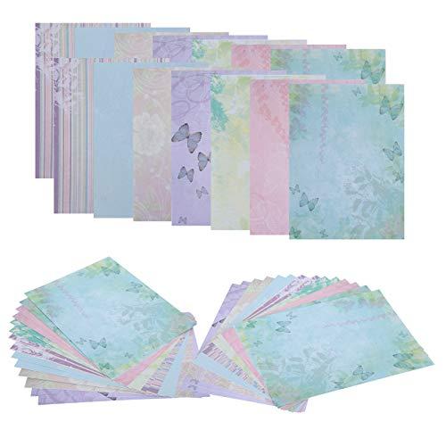 Kit de colección de papel de álbum de recortes de 42 piezas, papel de cartulina de mariposa, papel decorativo para manualidades de bricolaje, papel de álbum de recortes para decoración de álbumes de f