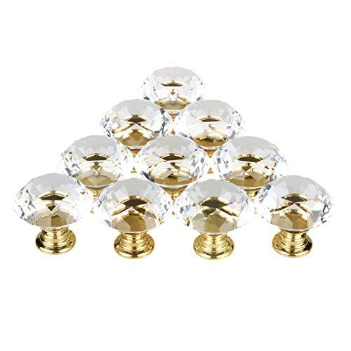 Bouton de Meuble Cristal,10 Pcs 30mm Bouton de Porte Meuble Tiroir Placard avec Vis pour Accueil Bureau Coffre Armoire Tiroir