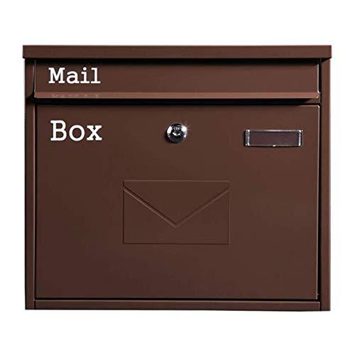 HMBB Buzones para montaje en pared, buzón con bloqueo, caja de cartón resistente, caja de sugerencias comerciales, caja de urna segura y segura (color: marrón)