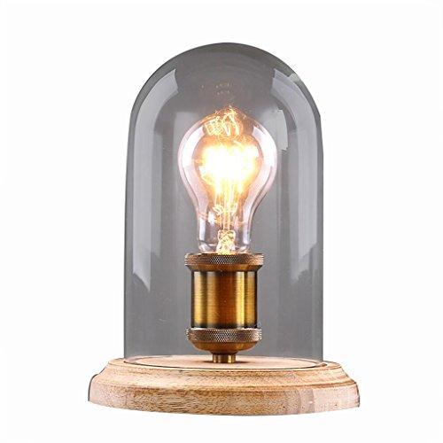 uus Lampe de table solide bois verre chambre lampe de chevet E27 ampoule base 16 * 25CM lumière chaude (économie d'énergie A +) (Couleur : Warm light16*25cm)