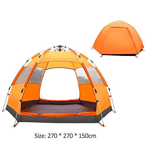 DOLA Draussen Campingzeltfür 4-6 Personen, Zweischichtiges Wasserdichtes Winddichtes Strandzelt, Familienwanderheim,Orange