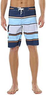 Meegsking Men's Quick Dry Striped Swim Trunks Summer Beach Board Shorts with Mesh Lining [並行輸入品]