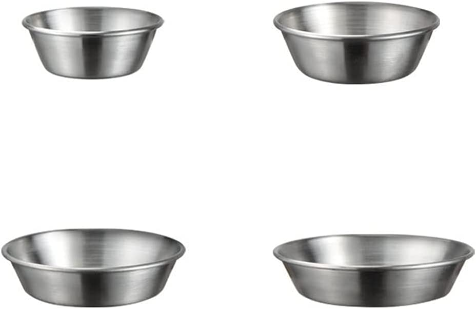 Angoily 4 sale Pcs Stainless Steel Sauce Max 44% OFF Dura Practical Dishes Saucer