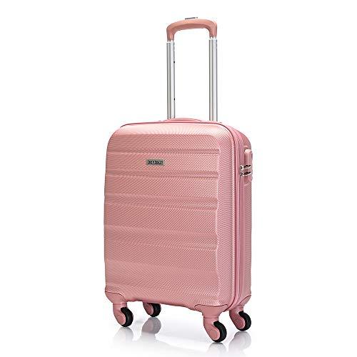 Bontour Bagaglio A Mano Valigia Rigida Piccola Trolley Leggera 55x40x20 Cm Con 4 Ruote (Oro rosa)