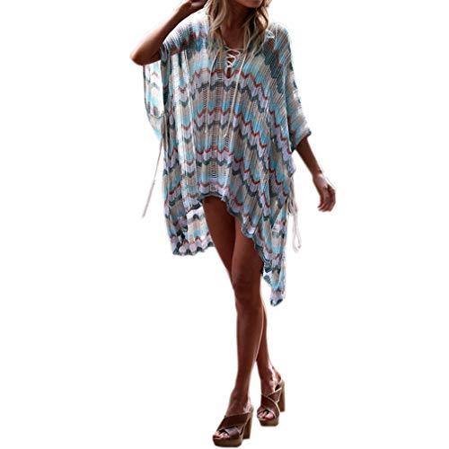 Ai.Moichien Damen Riemchen Batwing V-Ausschnitt Irregulär Streifen Gedruckt Sexy Kleid Lose Beiläufig Strand Bluse