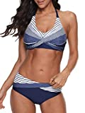 Women's Sporty Two Piece Swimsuits Halter Push Up Bathing Suits Athletic Swimwear for Women Blue White Stripes S