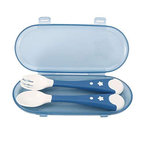 Juego de 2 cucharas y tenedores para bebés, juego de vajilla para bebés antideslizante portátil para alimentación infantil (6.5 x 2.8 in)(Azul)