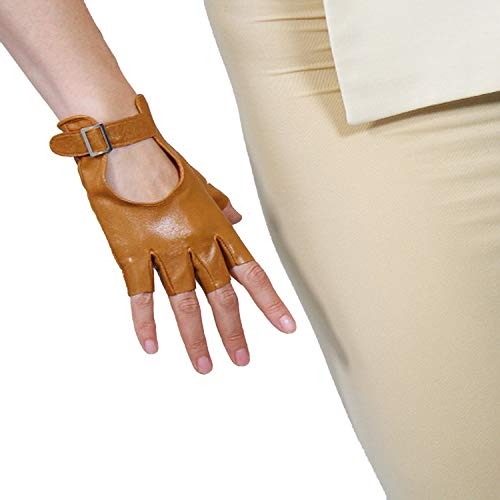 DooWay 100% REAL LEATHER Fingerless Short Gloves Brown Silver Square Buckle Half Finger