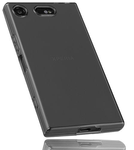 mumbi Hülle kompatibel mit Sony Xperia XZ1 Compact Handy Case Handyhülle, transparent schwarz