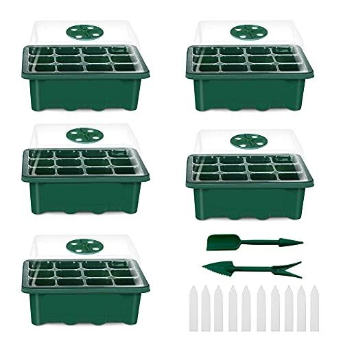 Caja de Cultivo de Invernadero de Interior OneChois, Juego de Cultivo de bandejas de Cultivo , Cultivo de Plantas en Mini Invernadero, para el Inicio del Cultivo de Semillas (5pcs, Verde)