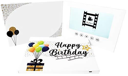 PlayMeGram videokaart met 7 inch groot LCD-kleurendisplay en USB-aansluiting, voor videoberichten, diashows, videoprojecten, verjaardag, marketing, uitnodigingen, creatief cadeau-idee, Comfort 21 x14,8 cm, Happy Bday Star
