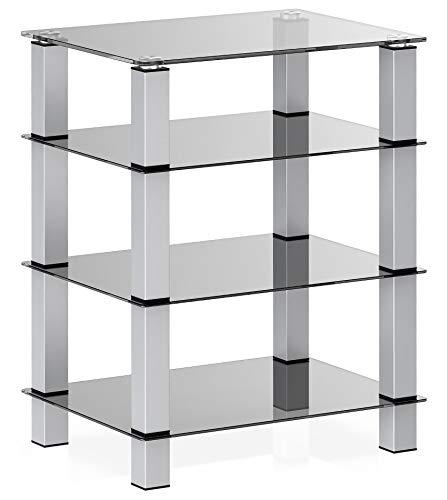 FITUEYES HiFi-Rack AV-Regal 4-stufiger Glas-TV-Ständer mit Medienregalen aus gehärtetem Glas Schwarz für Plattenspieler-Plattenspieler DVD Xbox-Ständer Audio Entertainment